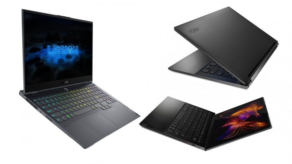 Lenovo Yoga 9i, Yoga 9i slim, and Legion 7i.