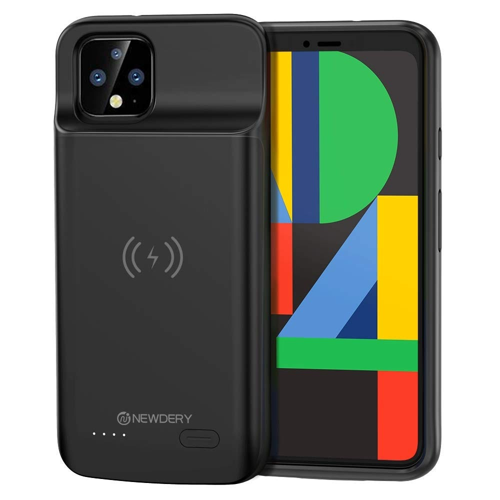 The Pixel 4 in a battery case.