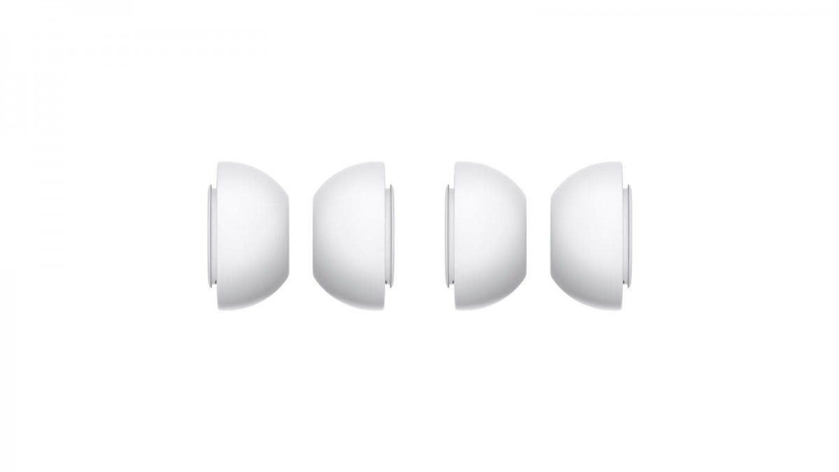 A set of white AirPods Pro ear tips