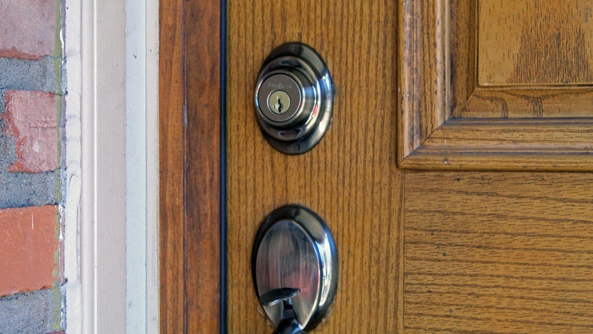 A door, with a standard looking keylock and handle.