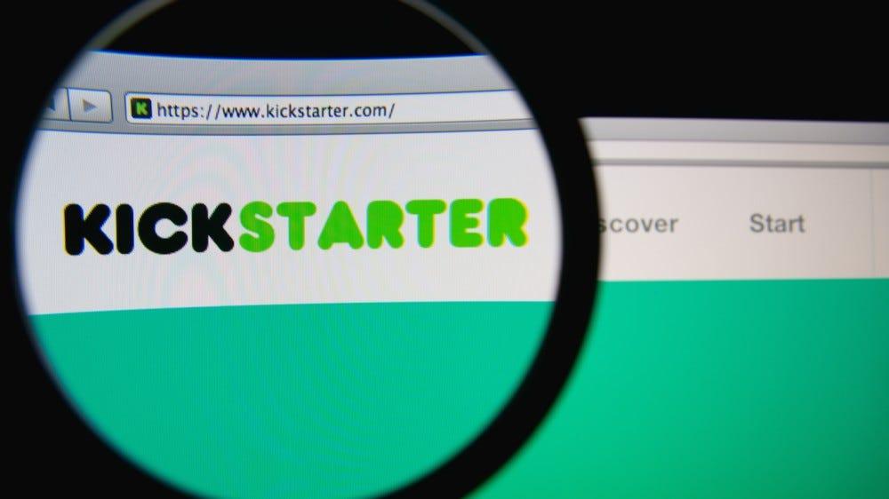 Kickstarter homepage through a magnifying glass.