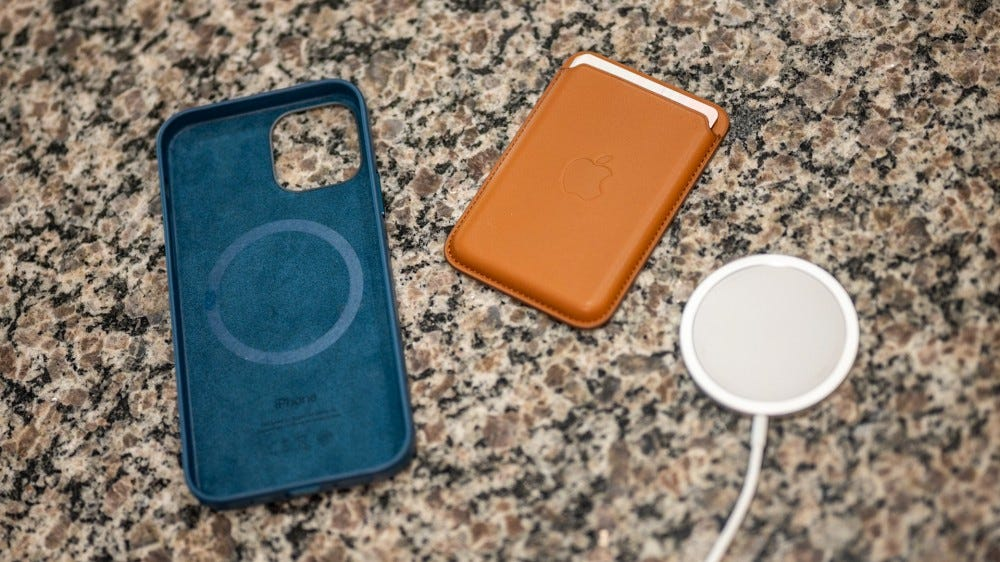 Apple's MagSafe charger, leather wallet, and case for the iPhone 12 Pro