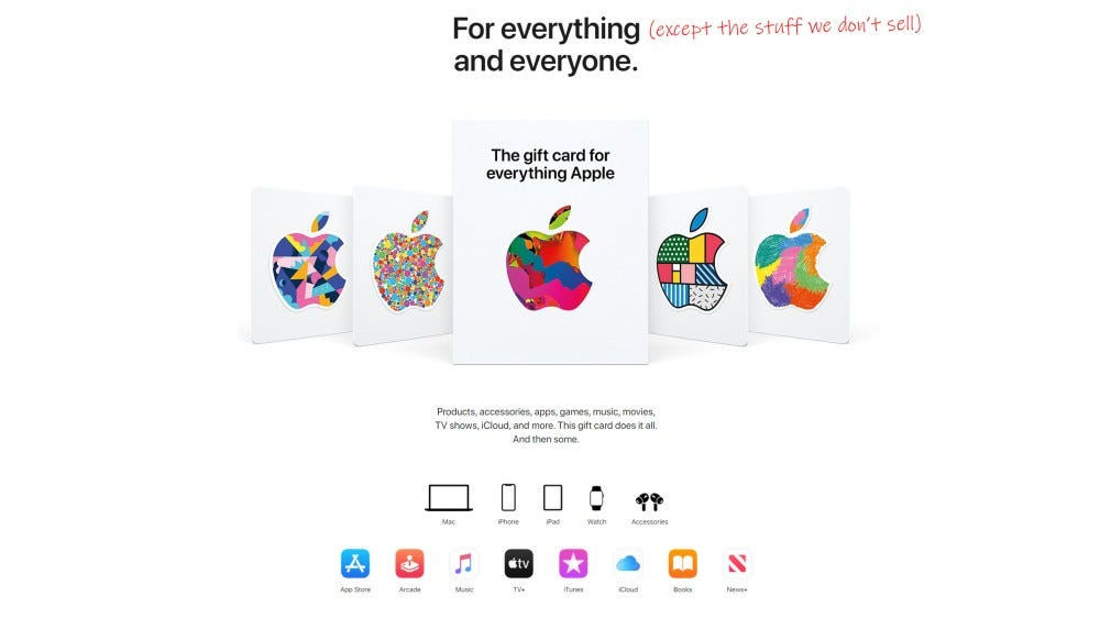 screenshot of the Apple Store, Apple Gift Card