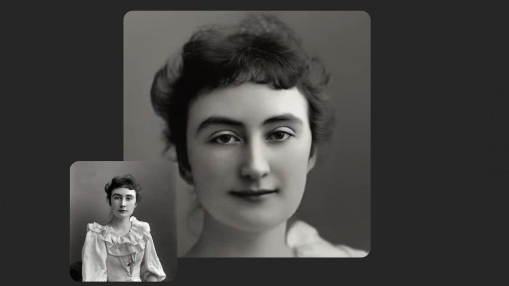 An example of the MyHeritage Deep Nostalgia tool on an old family photo.