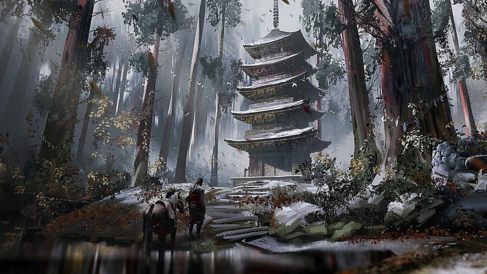 'Ghost of Tsushima' art print featuring samurai and horse walking up to a pagoda in the middle of a forest