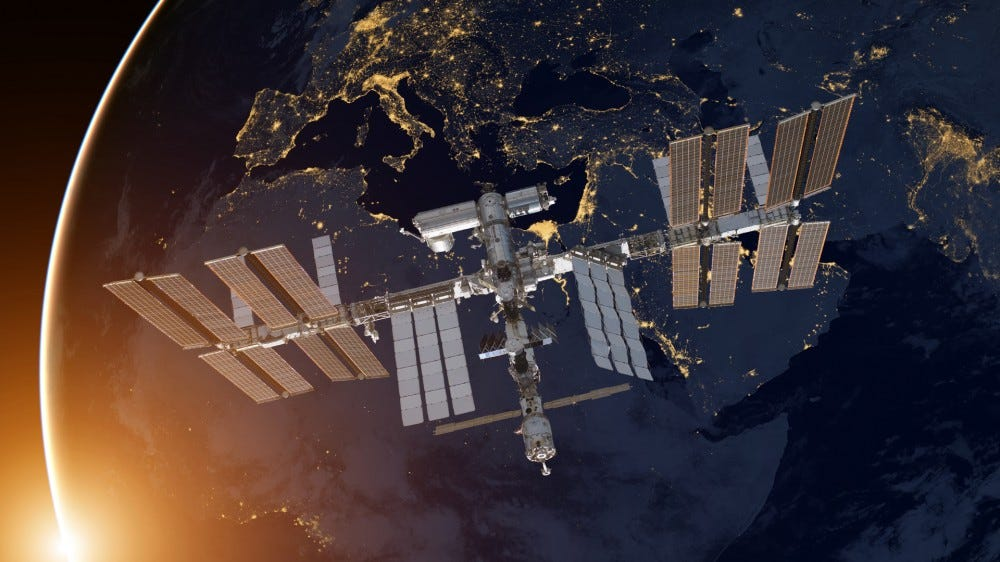 International Space Station over planet Earth