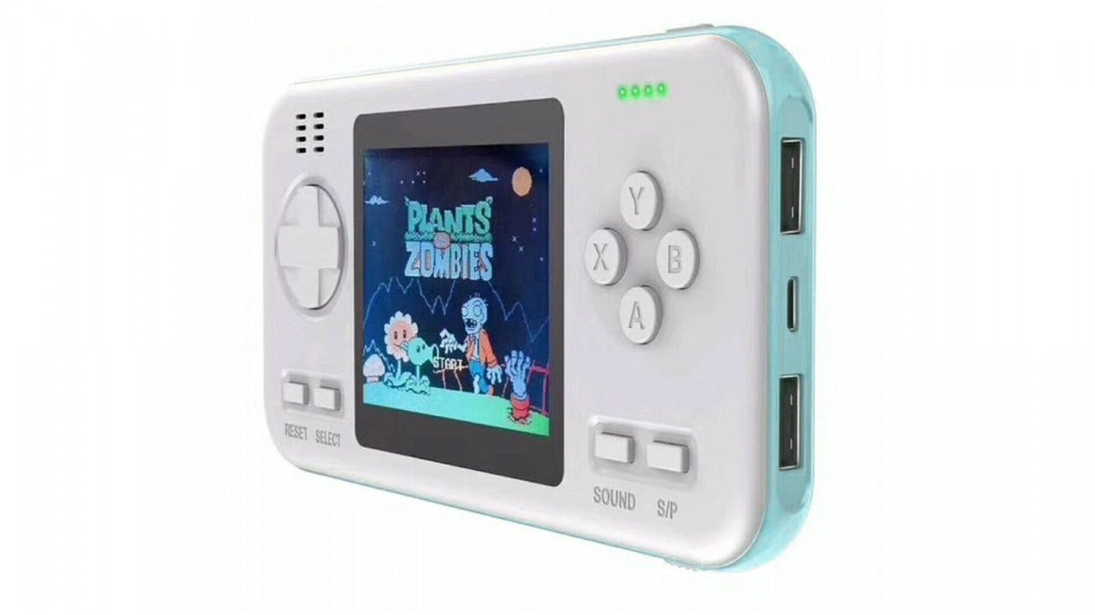 A white and blue Gaming Power Bank, featuring Plants vs Zombies.