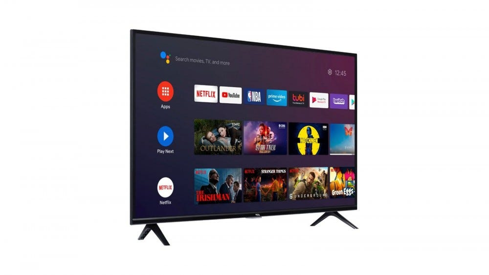 A TCL Series 3 TV with Android TV interface.