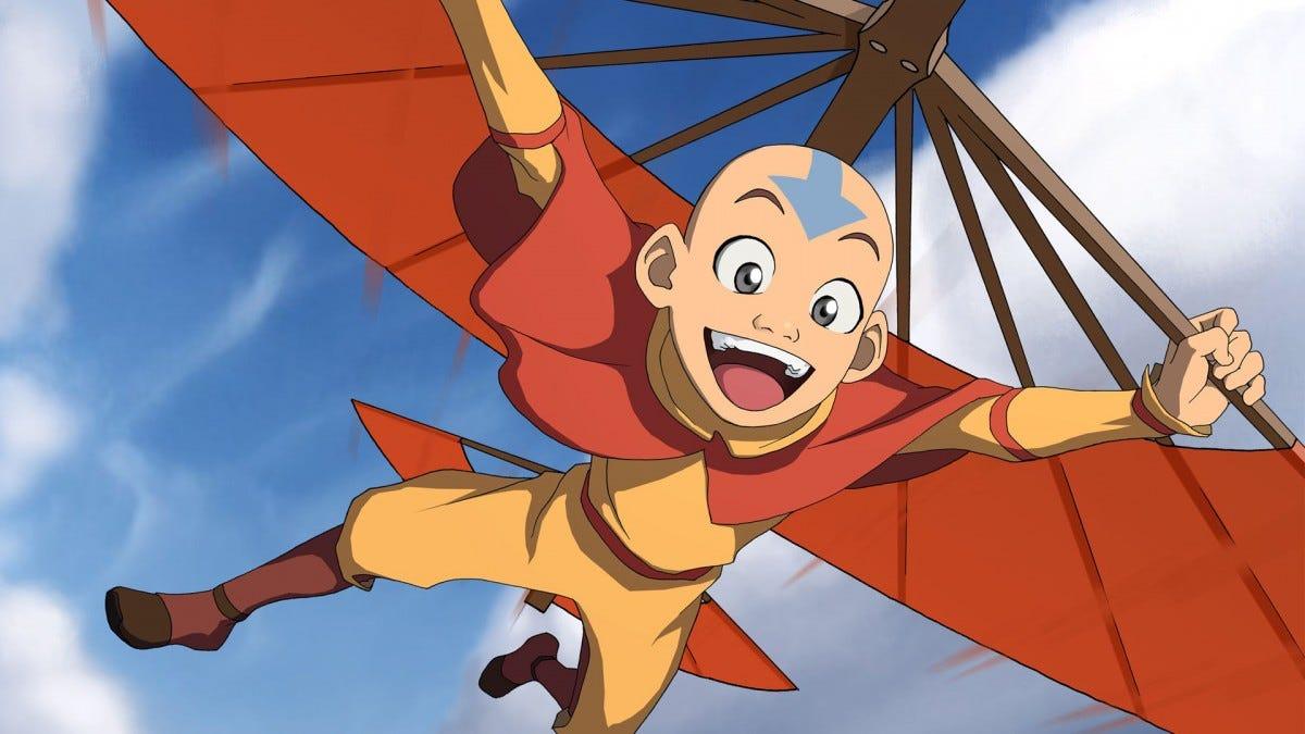 Avatar Anng flying on a kitestaff.