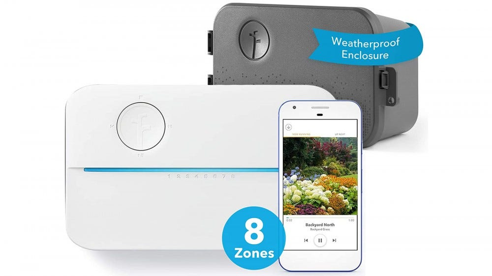 The Rachio 3 smart sprinkler controller, its weatherproof case attachment, and its companion mobile app