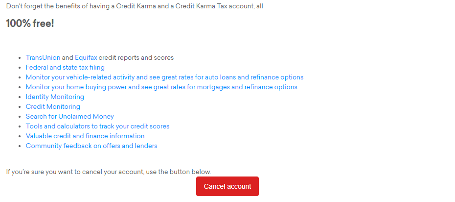 A screenshot of the Credit Karma account cancellation page