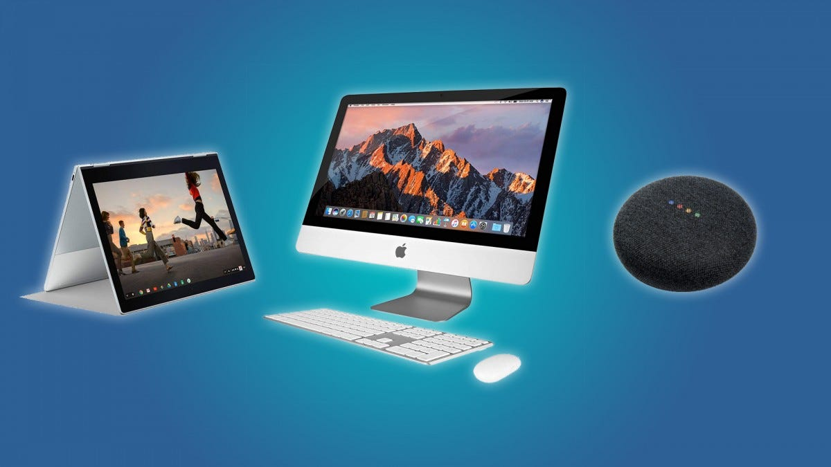 The Google Pixelbook, the iMac, and the Google Home Mini