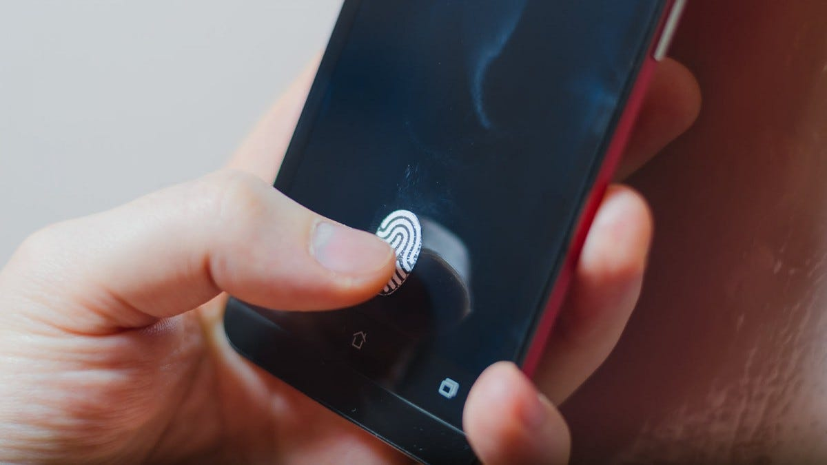 A phone with a fingerprint scanner.