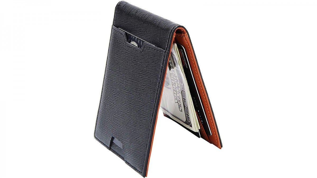 Men Bifold Wallet with Money Clip - Leather Minimalist Front Pocket RFID Blocking