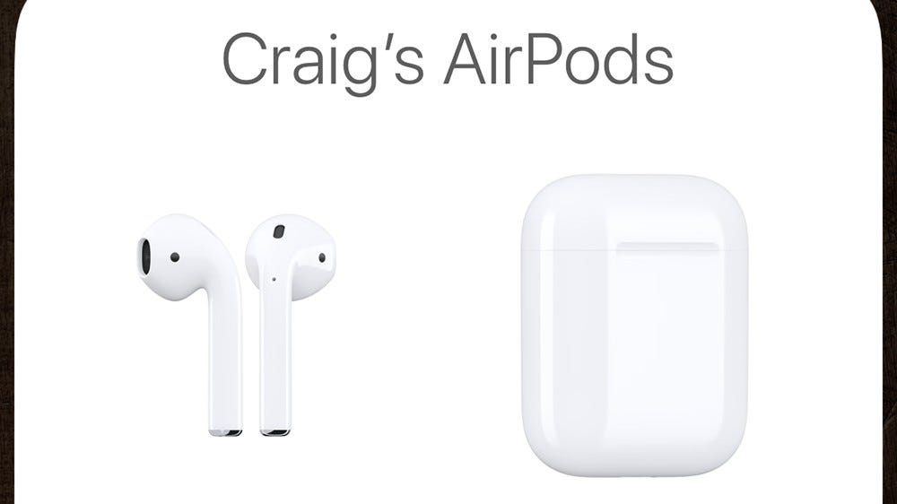 Screenshot of the AirPods pairing screen