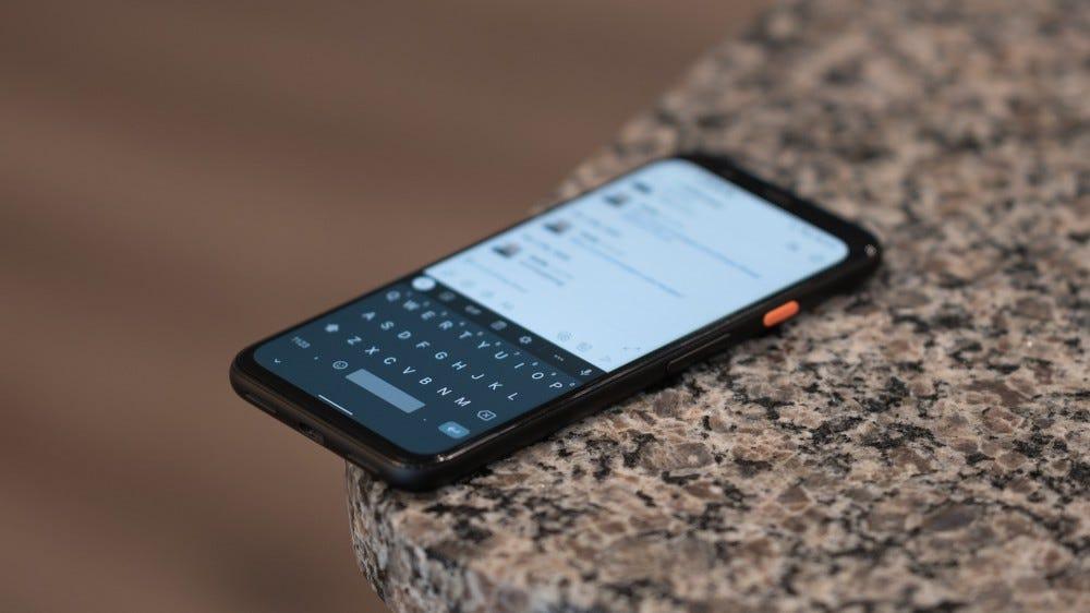 Google Pixel phone with Gboard keyboard app open