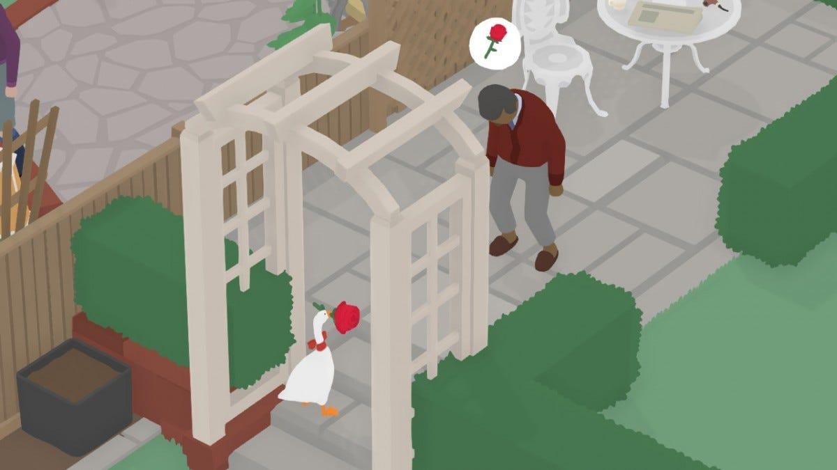 The Goose revels in a gardener's misery.