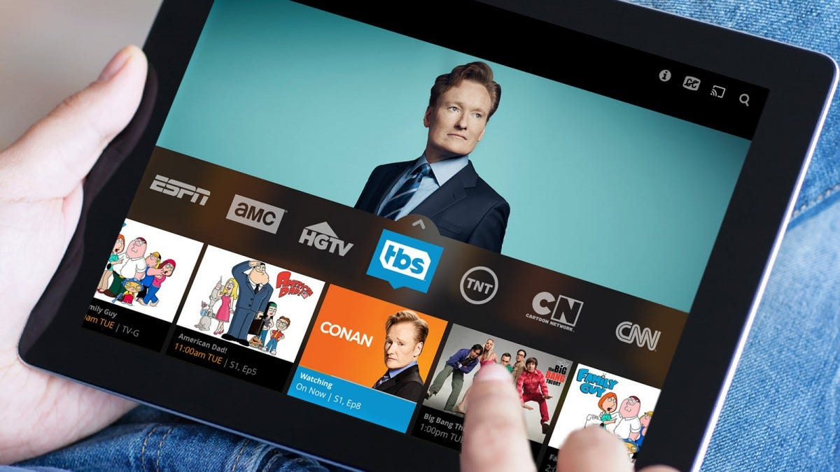 A Tablet with a Sling app open, browsing TBS shows.