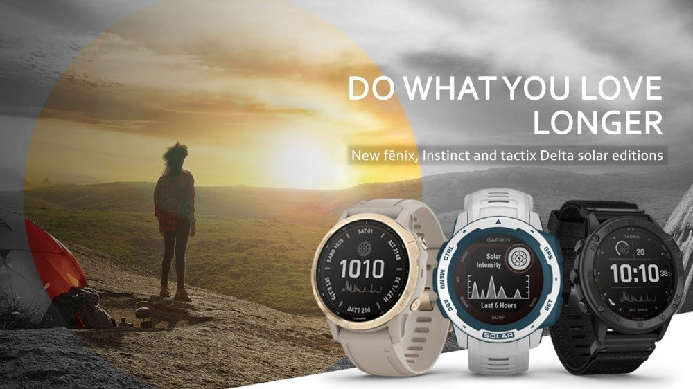 "Three smart watches alongside the words ""Do what you love longer."""