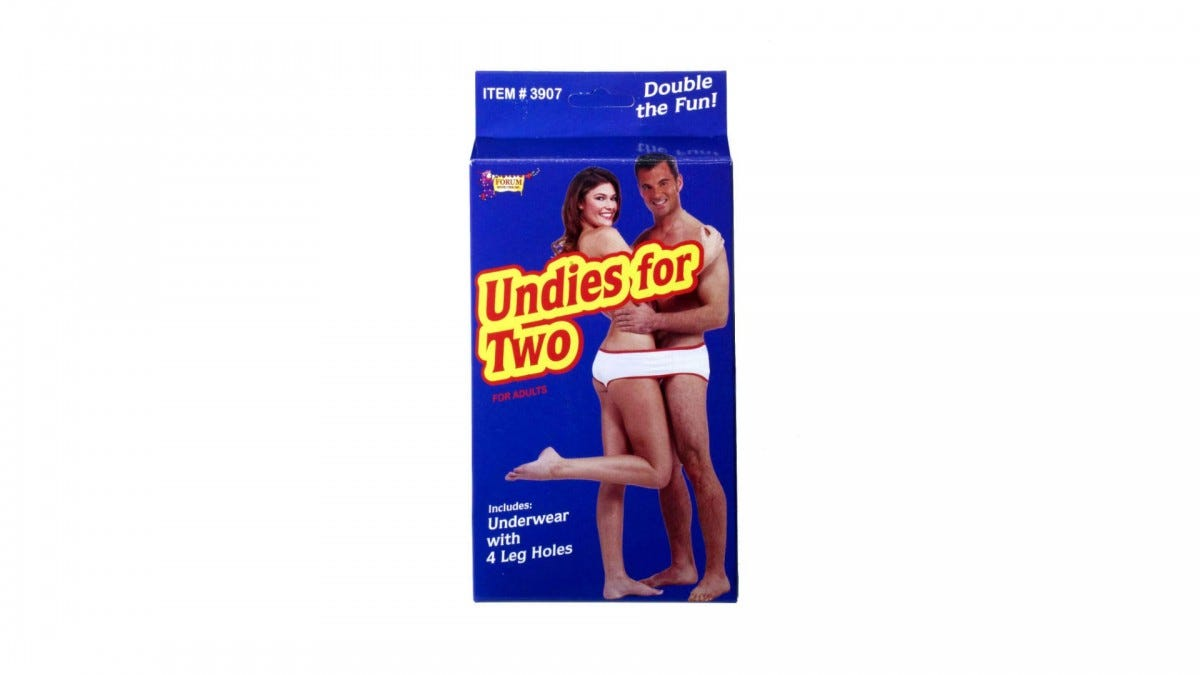 The fundies box art featuring a man and a woman in one pair of underwear.