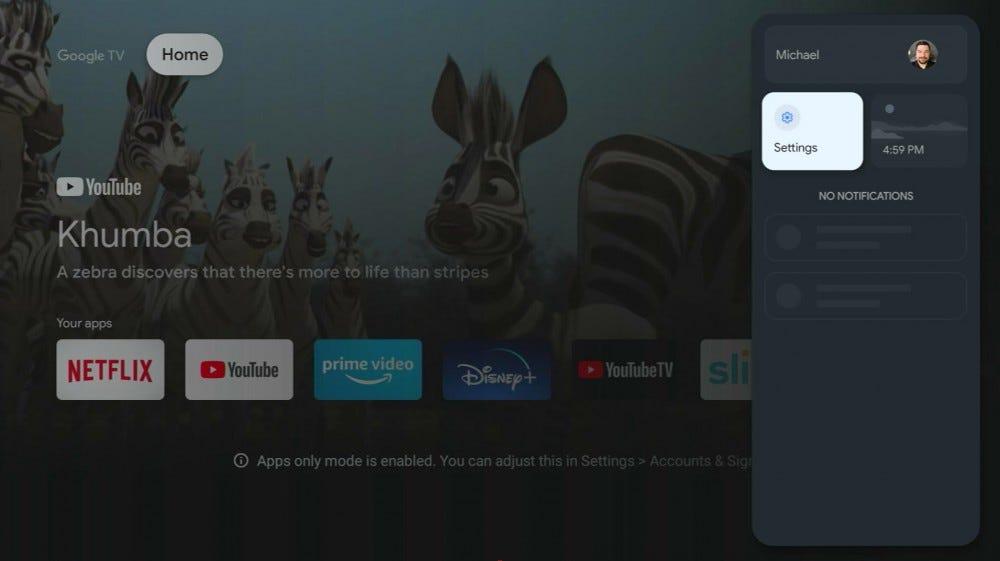 Chromecast with the main Google TV settings button
