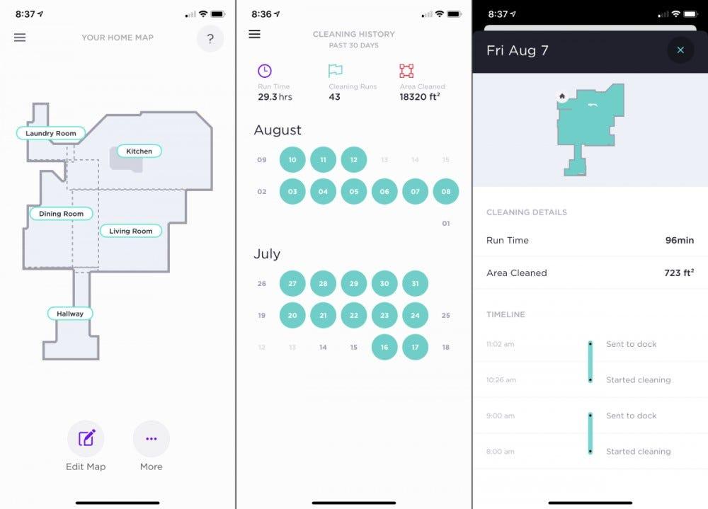 Shark IQ App - Map History Screens