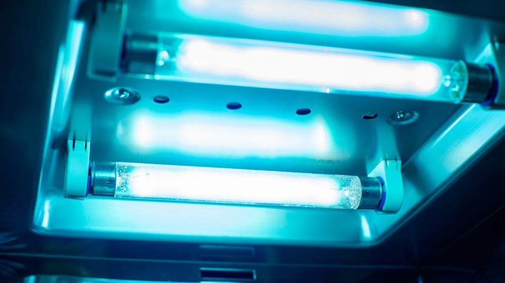 A photo of some UVC lamps.