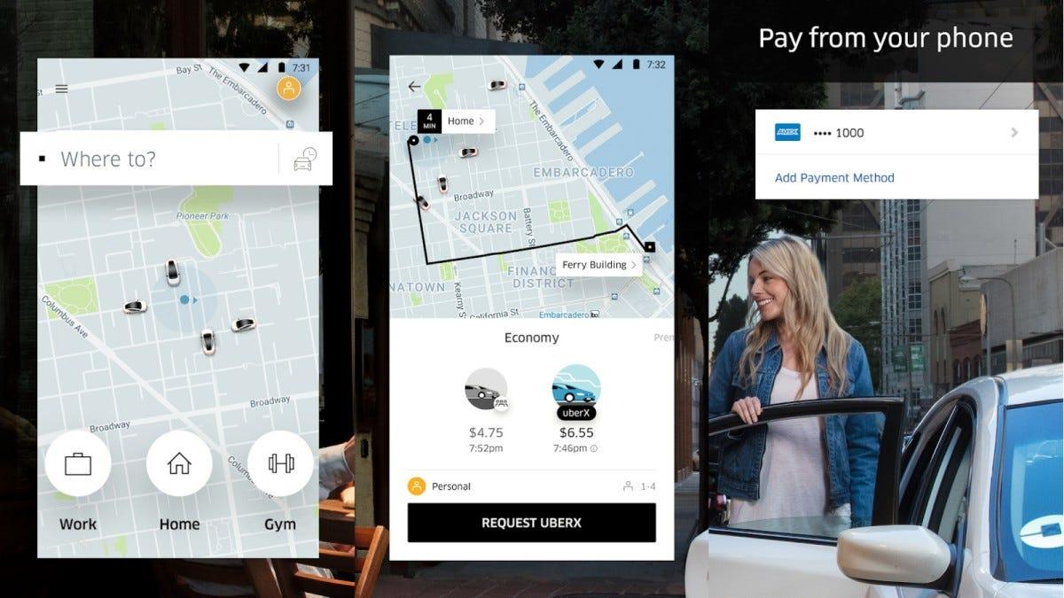 Several screenshots of the Uber app