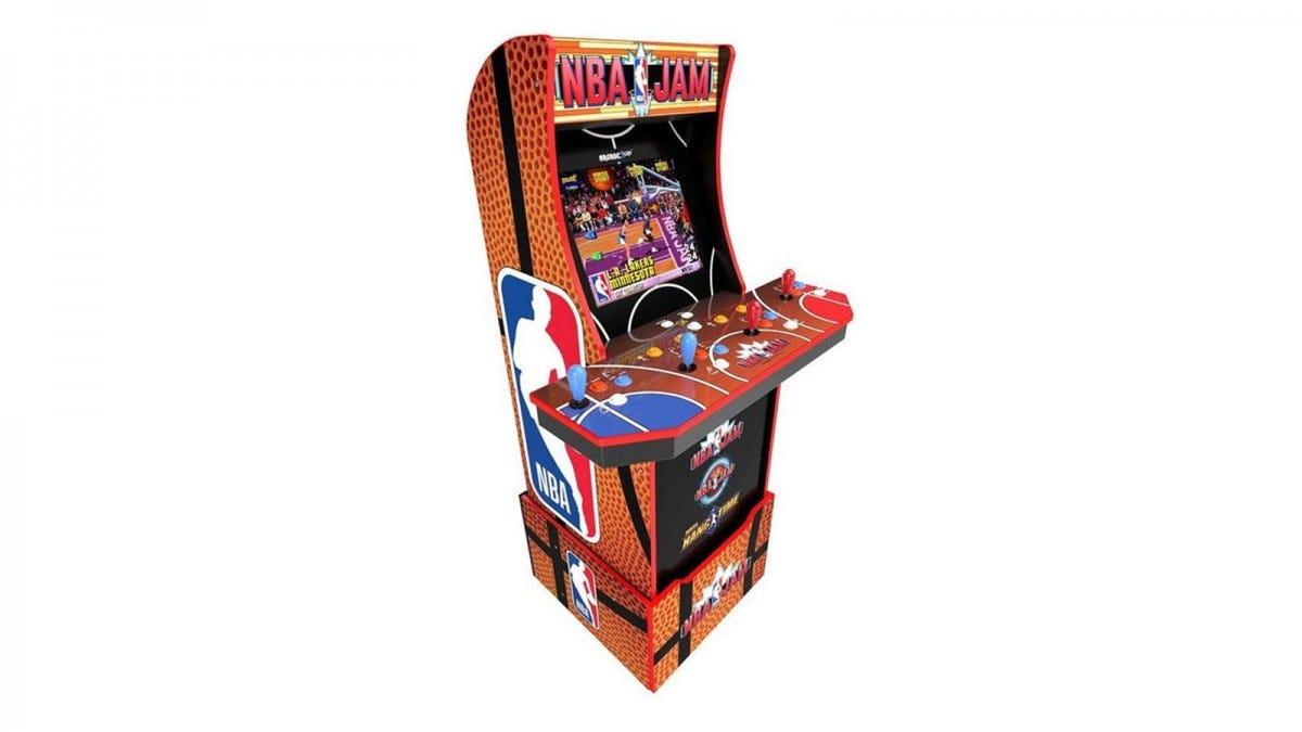 An Arcade1Up NBA Jam Machine with four joysticks.