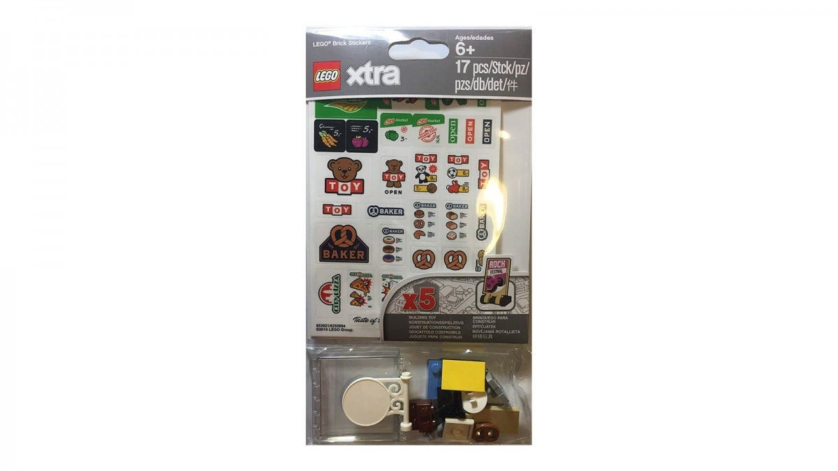 A pack of stickers for LEGO bricks.