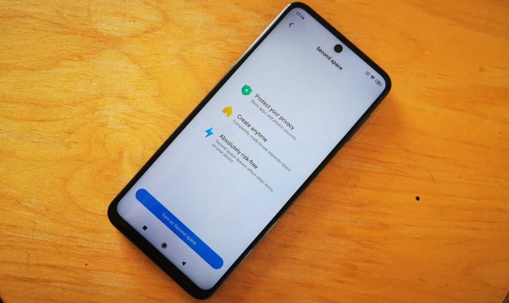 redmi note 9 pro second space mode on screen