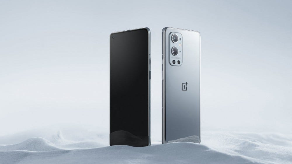A OnePlus 9 Pro, viewed from the front and the back.