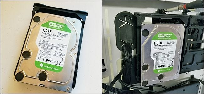 A hard drive removed from a PC