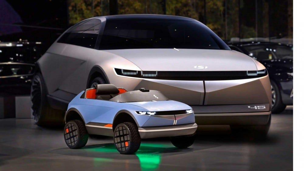 Hyundai 45 mini EV concept next to full-sized 45 car