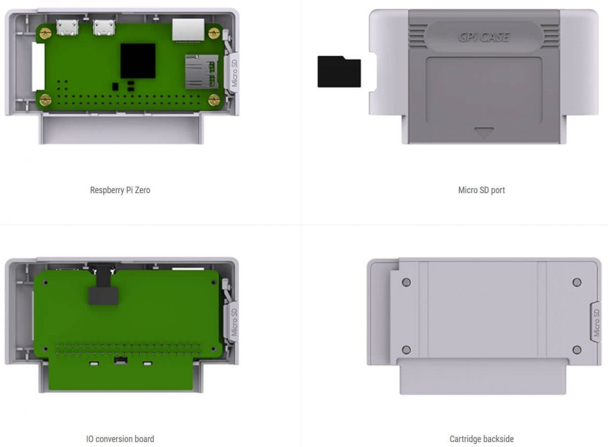 the GPi Game Boy case cartridge holding a Raspberry Pi Zero