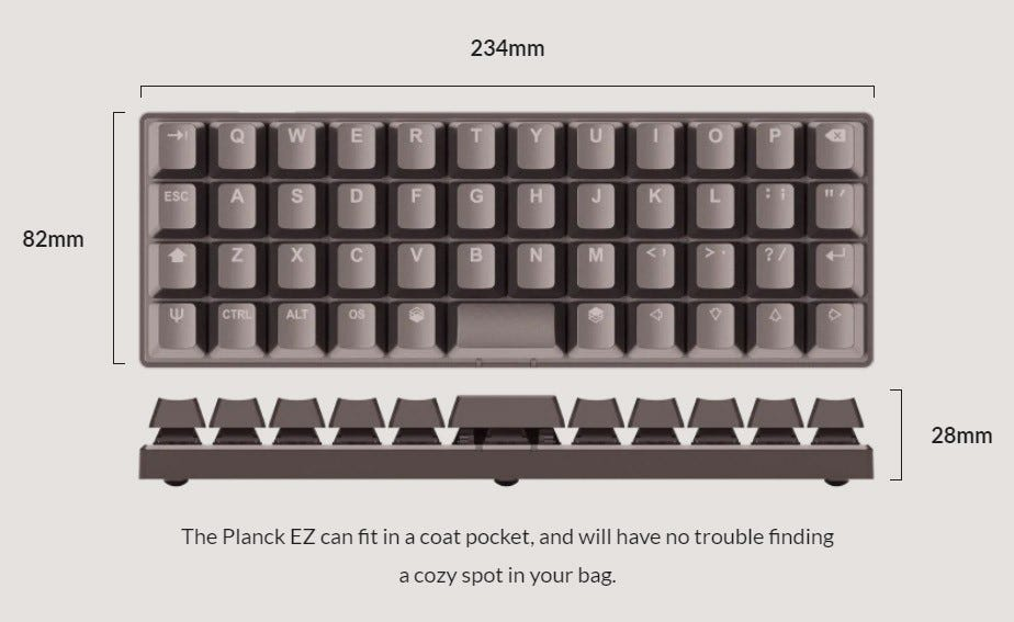 The Planck EZ, a small pre-assembled ortho-linear keyboard.