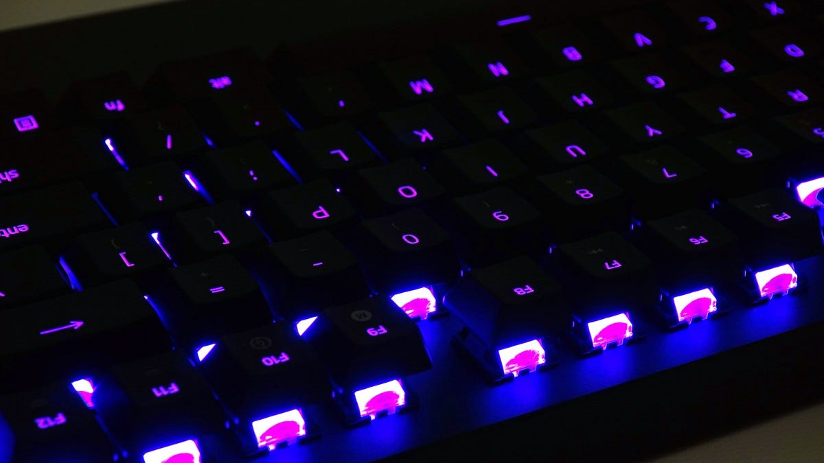 A close-up of the Turret keyboard's Chroma RGB lighting.