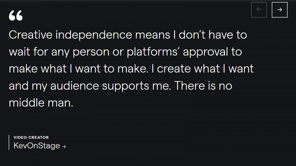 Quote from a creator of Patreon