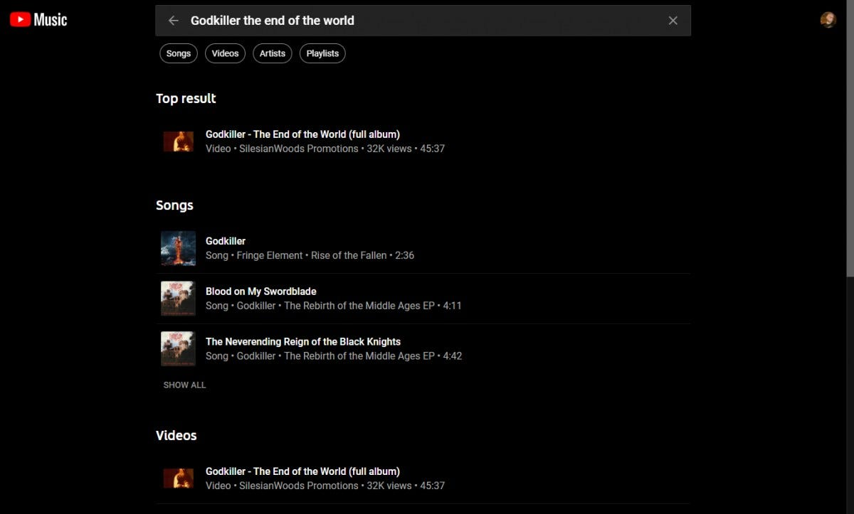 YouTube Music's search function