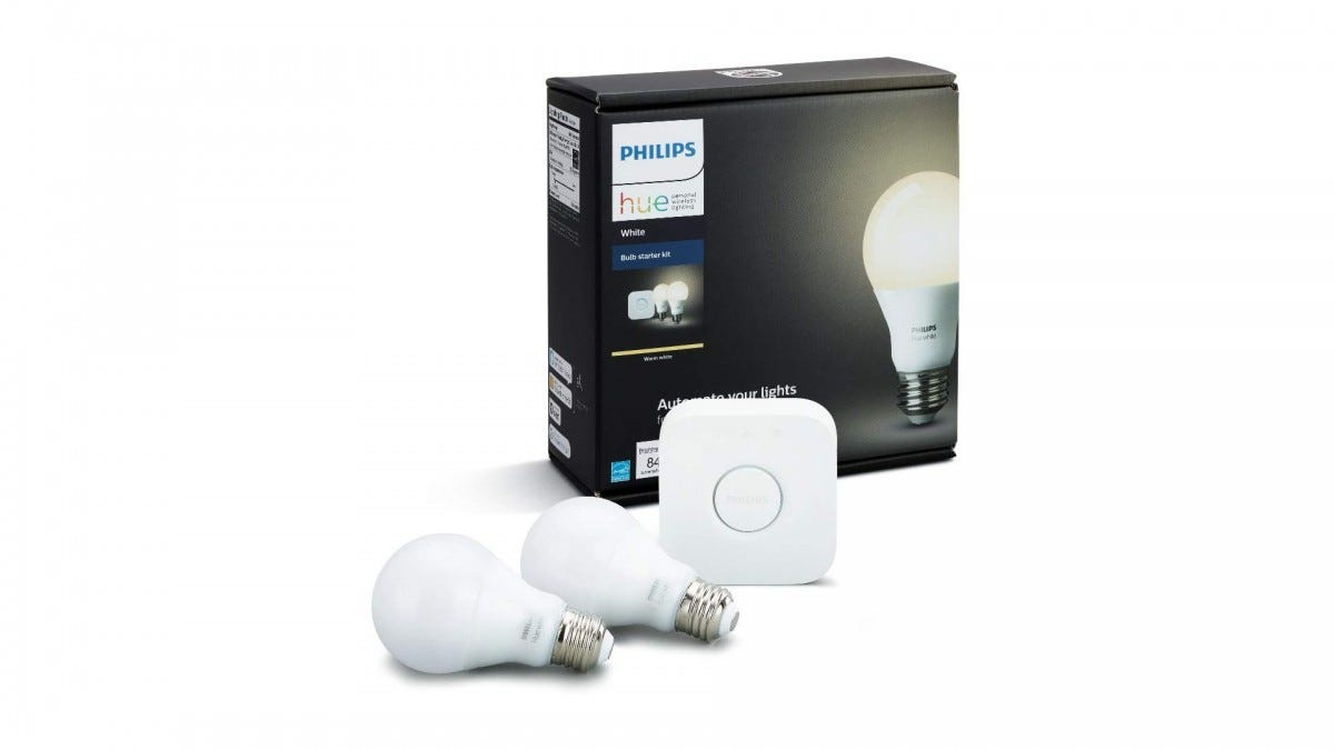 The Philips Hue white smart bulb starter pack.
