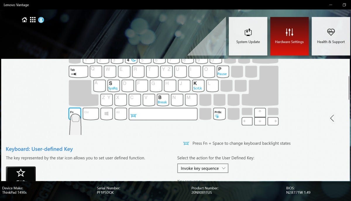 The keyboard settings menu in the Lenovo Vantage software.