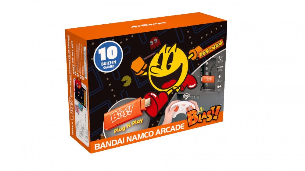 A box featuring 'Pac-Man' and other Bandai games.