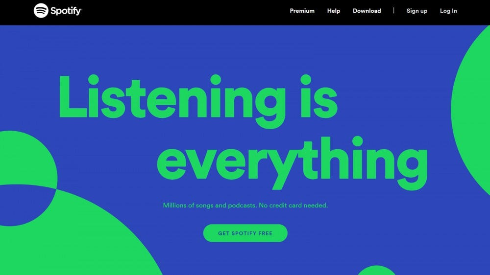 """Spotify website with green and blue text and designs saying """"listening is everything"""""""