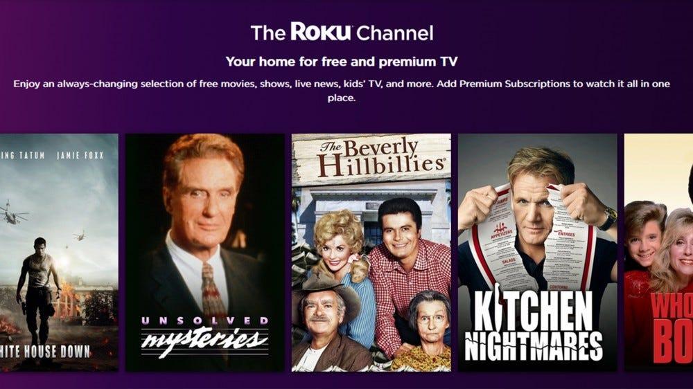 A screenshot of the Roku Channel website.
