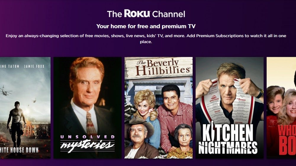 A screenshot of the Roku Channel homepage.