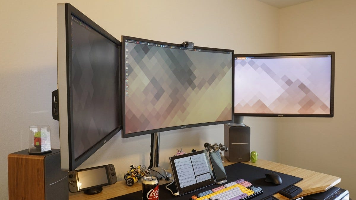 Triple monitor setup.