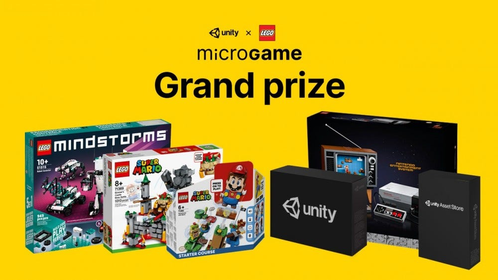 A picture of the grand prizes, including four LEGO sets, and two unity assets.