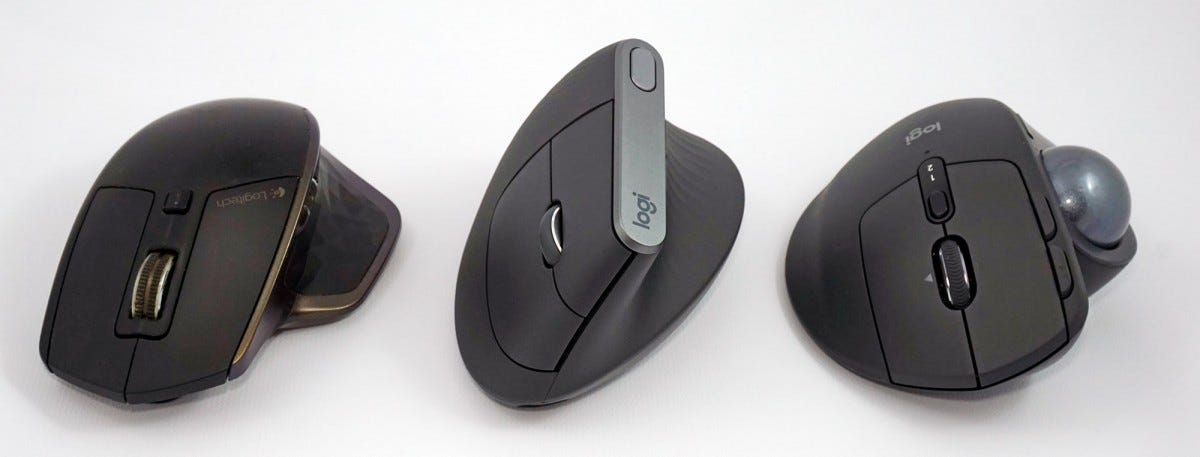 Left to right: the original MX Master, MX Vertical, MX Ergo trackball.