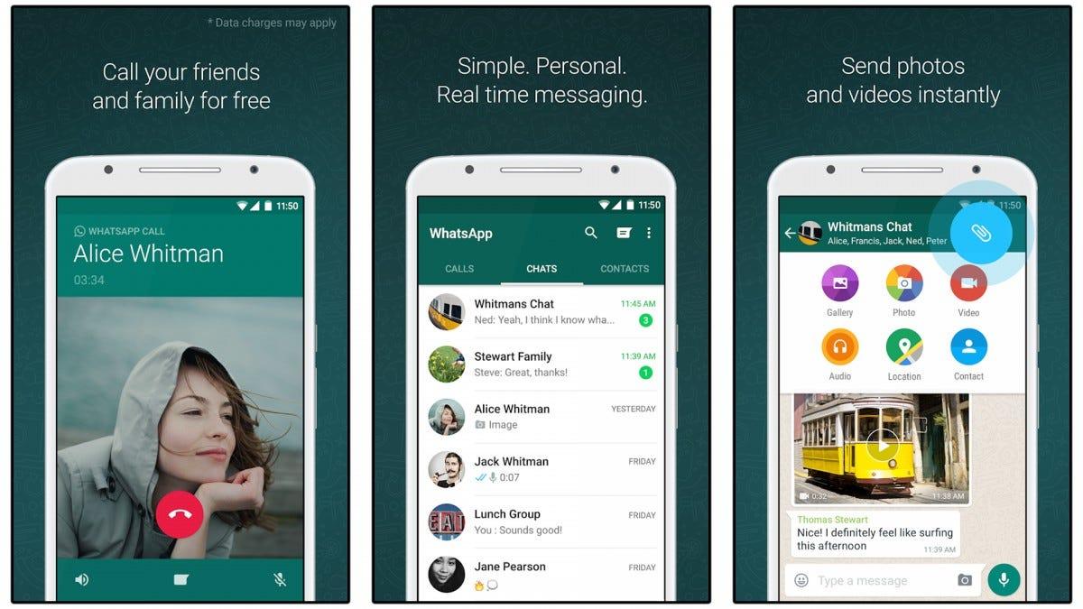 Screenshots of the WhatsApp messenger.