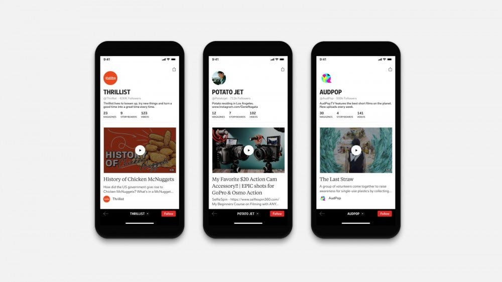 Flipboard TV in the Flipboard app